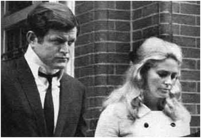 Senator Edward M. Kennedy and his wife, Joan, attend Mary Jo Kopechne's funeral at St. Vincent's Church, Plymouth, Pennsylvania.