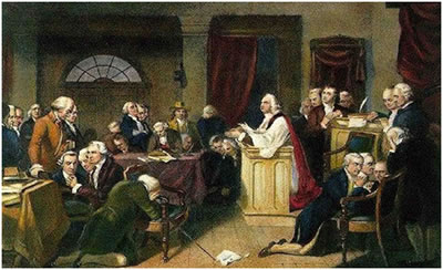 "H.T. Matteson's 1848 painting ""First Prayer of Congress"" depicts the Rev. Jacob Duche of Christ Church leading the First Continental Congress in Prayer at Carpenters Hall on Sept. 7, 1774."