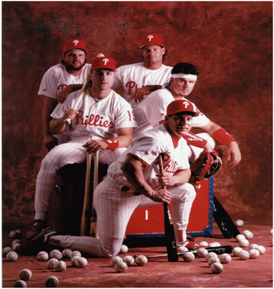 "Macho Row (Clockwise from top right): Darren ""Dutch"" Daulton, Mitch ""Wild Thing"" Williams, Lenny ""Nails"" Dykstra, Dave ""Head"" Hollins and John Kruk."